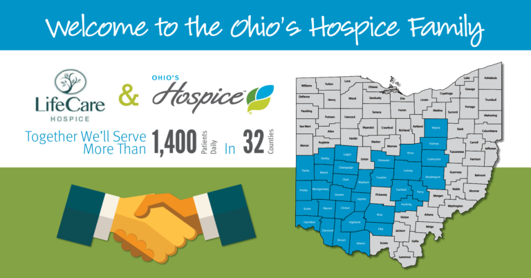 Map Of Counties Served By Ohio's Hospice July 2017